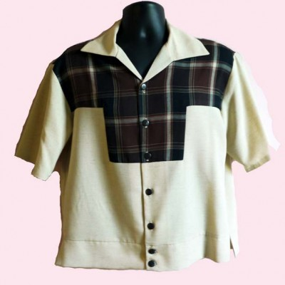 Gaucho Short Sleeve Beige & Brown Check