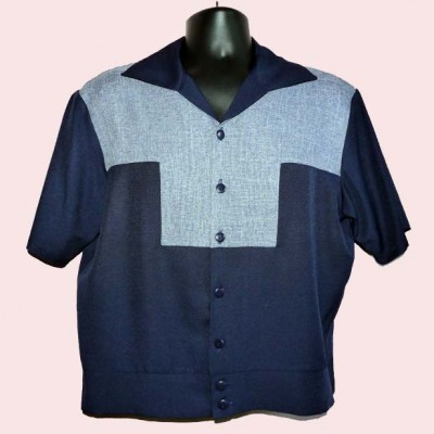 Gaucho Short Sleeve Navy & Blue Fleck