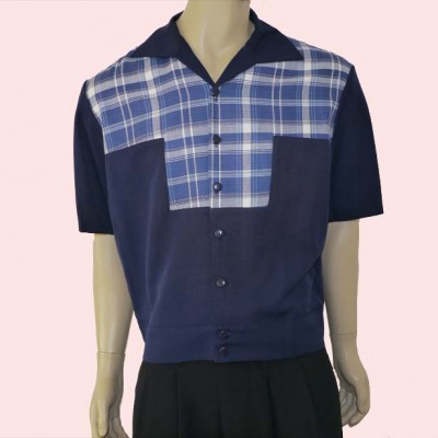 Gaucho Short Sleeve Navy & Blue & White Check