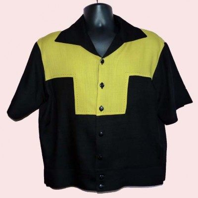 Gaucho Short Sleeve Stitched Black & Mustard