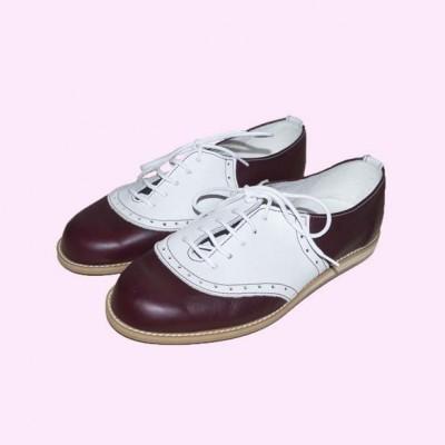 Saddle Shoe Burgundy and White