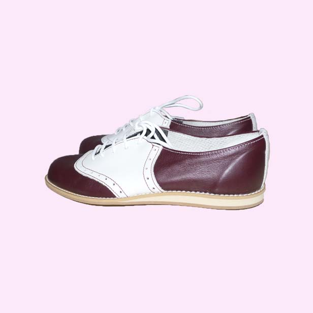 terry smith saddle shoes burgundy and white saddle