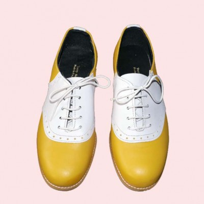 Saddle Shoe Yellow with white saddle top view