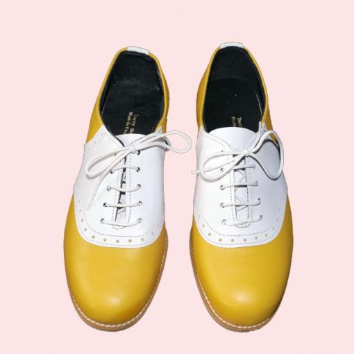 terry smith saddle shoes yellow and white saddle