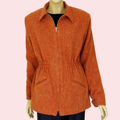 Ski Jacket Burnt Orange Herringbone
