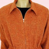 Ski Jacket Burnt Orange Herringbone close up