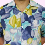 Short Sleeve Shirt Blue Floral Close up