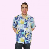 Short Sleeve Shirt Blue Floral untucked