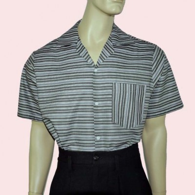 Short Sleeve Shirt Grey Stripe