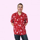 Short Sleeve Shirt Red Floral untucked