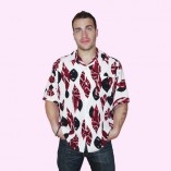 Short Sleeve Shirt White with Red Pattern