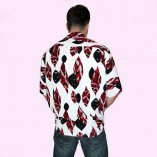 Short Sleeve Shirt White with Red Pattern back