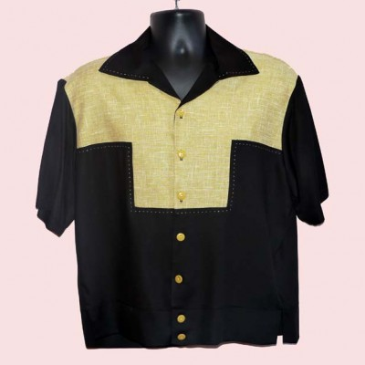 Gaucho Short Sleeve Black & Mustard Fleck Stitched