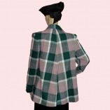 Swing Coat Pink & Green check back