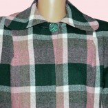 Swing Coat Pink & Green check close up
