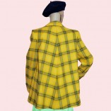 Swing Coat Yellow & Green check back