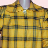 Swing Coat Yellow & Green check close up