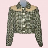 Womens Buttoned Jacket Houndstooth & Cream