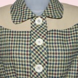 Womens Buttoned Jacket Houndstooth & Cream close up