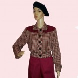 Womens Buttoned Jacket Maroon Check with maroon
