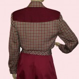 Womens Buttoned Jacket Maroon Check with maroon back