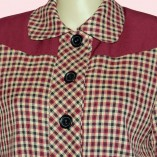 Womens Buttoned Jacket Maroon Check with maroon close