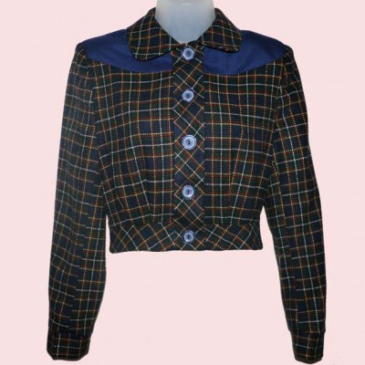 Womens Buttoned Jacket Navy & Red Check with Navy