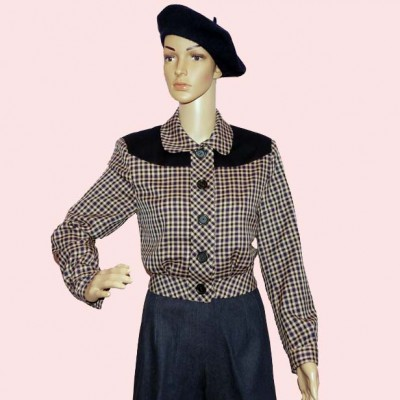 Womens Buttoned Jacket Navy check with Navy