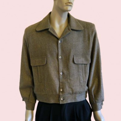 Gab Jacket Button Brown Herringbone