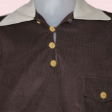 Gaucho Beige Fleck with Brown needle cord close up