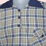 Gaucho Navy with Blue & Cream Check close up