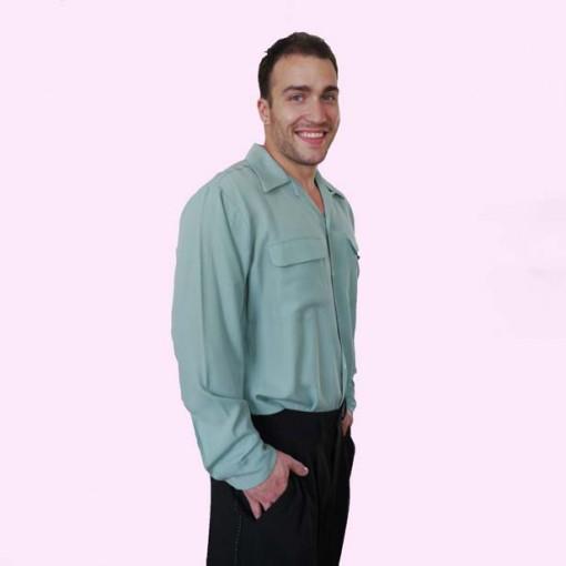 Gab Shirt Aqua Side