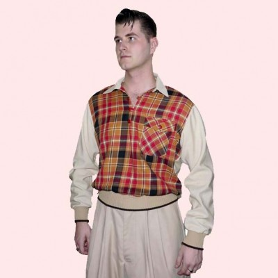 Gaucho Beige Fleck with Red & Tan Check
