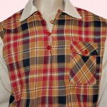 Gaucho Beige Fleck with Red & Tan Check close upjpg