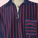 Gaucho Navy with Navy & Red Stripe close up