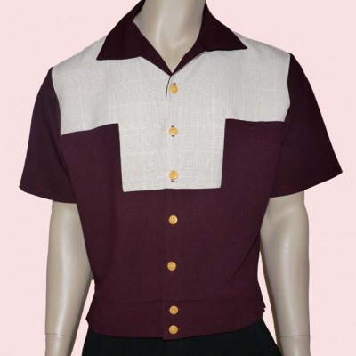 Gaucho Short Sleeve Burgundy and Beige Check