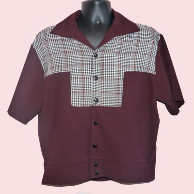 Gaucho Short Sleeve Burgundy and Black Prince of Wales check