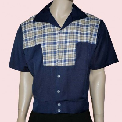 Gaucho Short Sleeve Navy & Blue & Beige Check