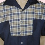 Gaucho Short Sleeve Navy & Blue & Beige Check close up