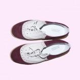 Saddle Shoe Burgundy Suede & Cream top