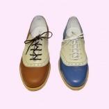 Saddle Shoe Tan & Cream and Mid Blue & Cream