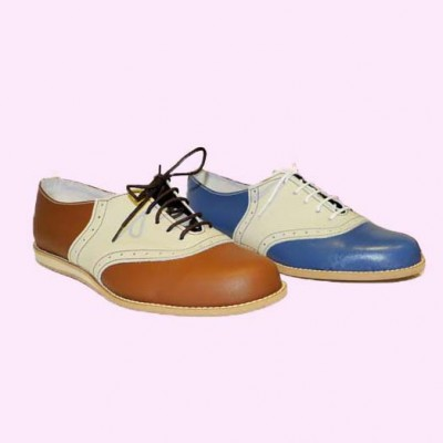 Saddle Shoe Tan & Cream and Mid Blue & Cream Side view