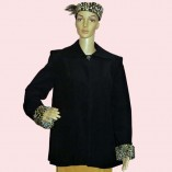 Swing Coat Black with Leopard cuffs