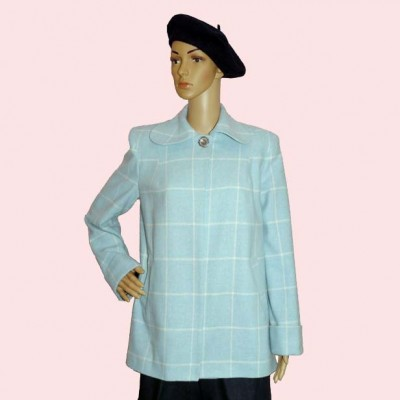 Swing Coat Blue & White check