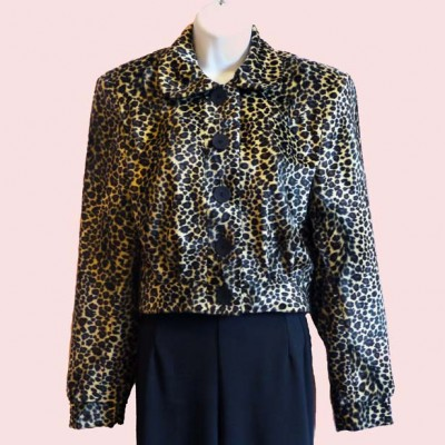 Womens Buttoned Jacket Leopard Print