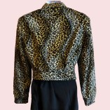 Womens Buttoned Jacket Leopard Print back