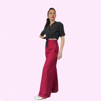 Raspberry Trousers Side view