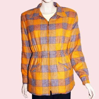 Ski Jacket Orange & Grey Check