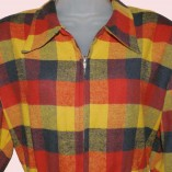 Ski Jacket Red Blue & Yellow check close up