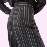 Womens Trousers Black Stripe Close up